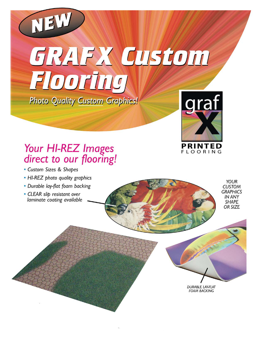 GRAFX Custom Flooring for Trade Shows: HI-REZ photo quality graphics, Durable lay-flat rubber backing, Clear slip resistant over laminate coating, Custom Sizes and Shapes