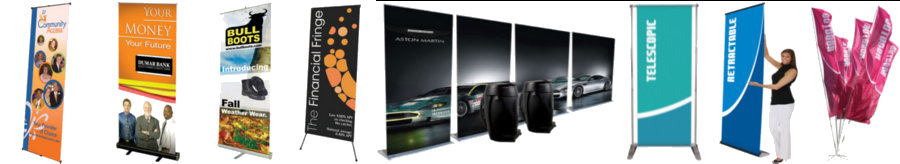 <H2> Banner Stands | Retractable And Non | Multiple Backings | Full Graphics | Portable  | Starting Under $70 </H2>