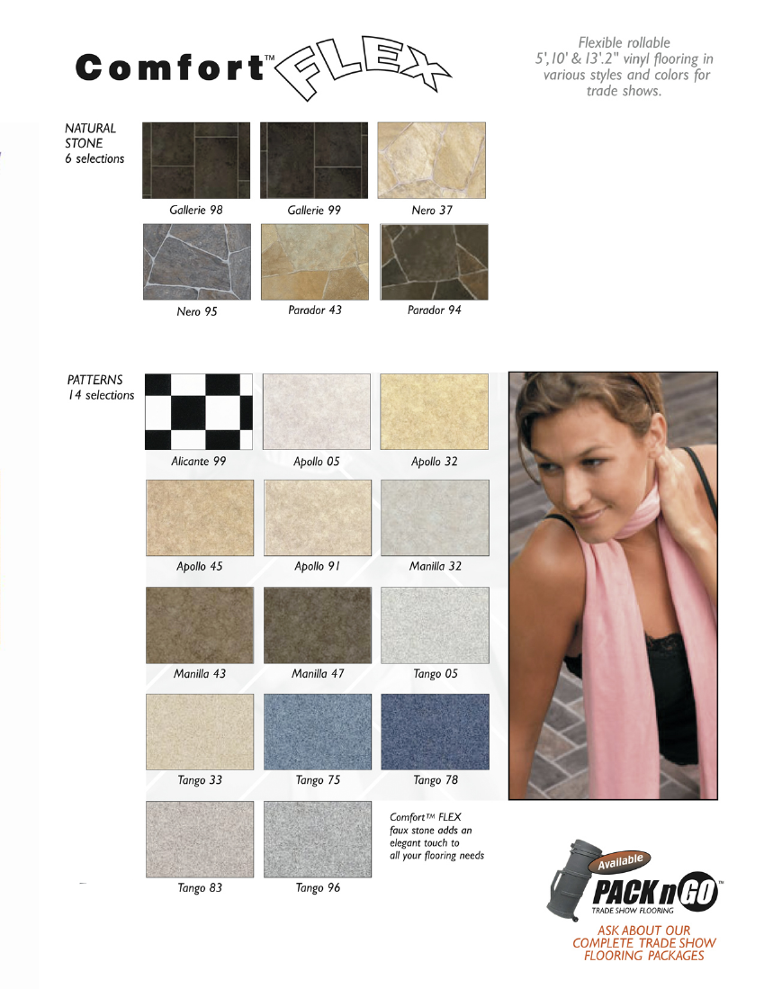 Comfort Flex Vinyl Flooring for Trade Shows:, Flexible rollable vinyl flooring in various styles and colors for trade shows Page  2