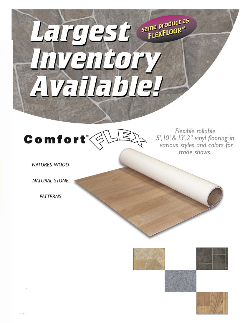 Comfort Flex Vinyl Flooring for Trade Shows: Same Flexible rollable vinyl flooring in previous models various styles and colors for trade shows Page 1
