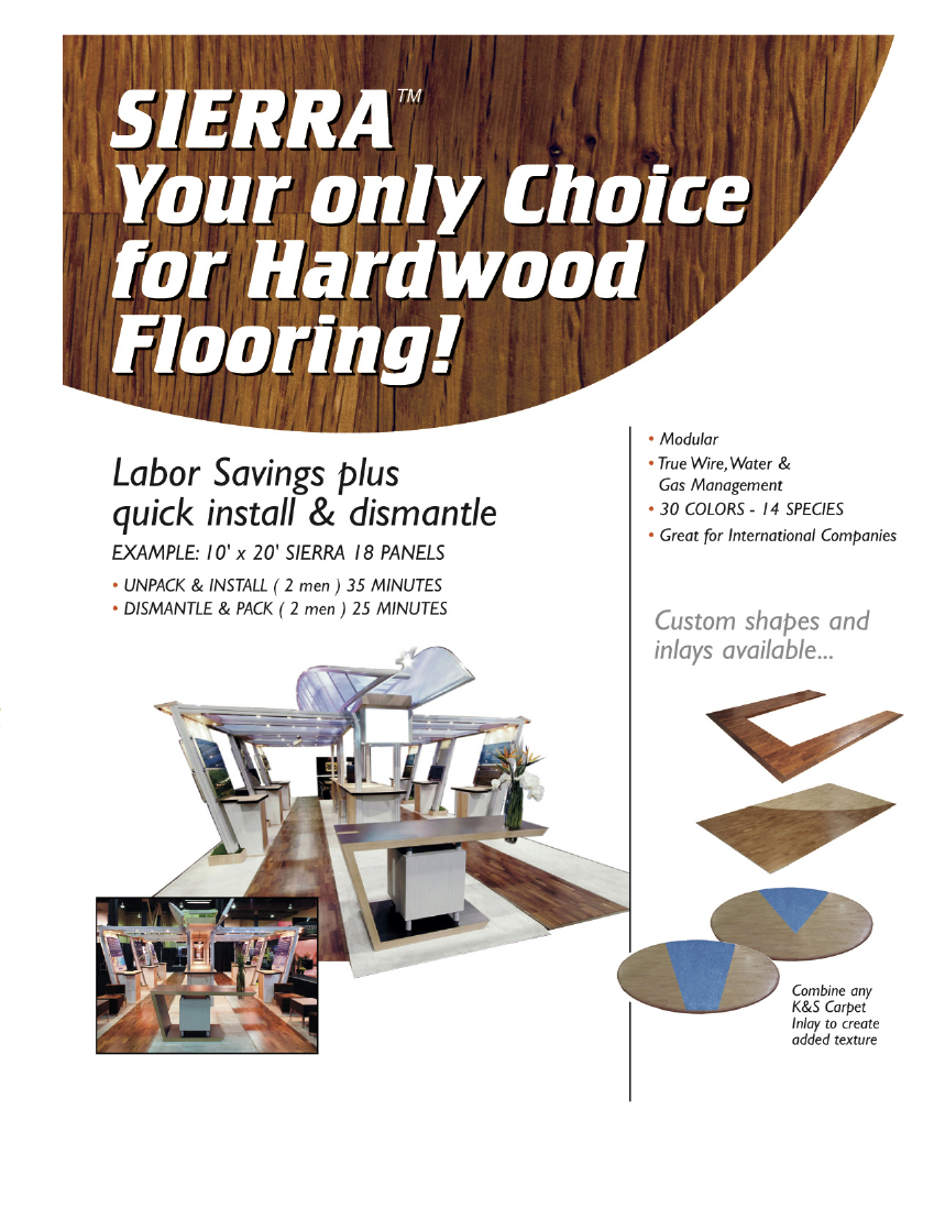 Trade Show Interlocking Hardwood Flooring: Modular and Easy to Install, Accommodates Wire Management, Hardwood Edges, Custom Shapes and Dual Wood Inlays, Green