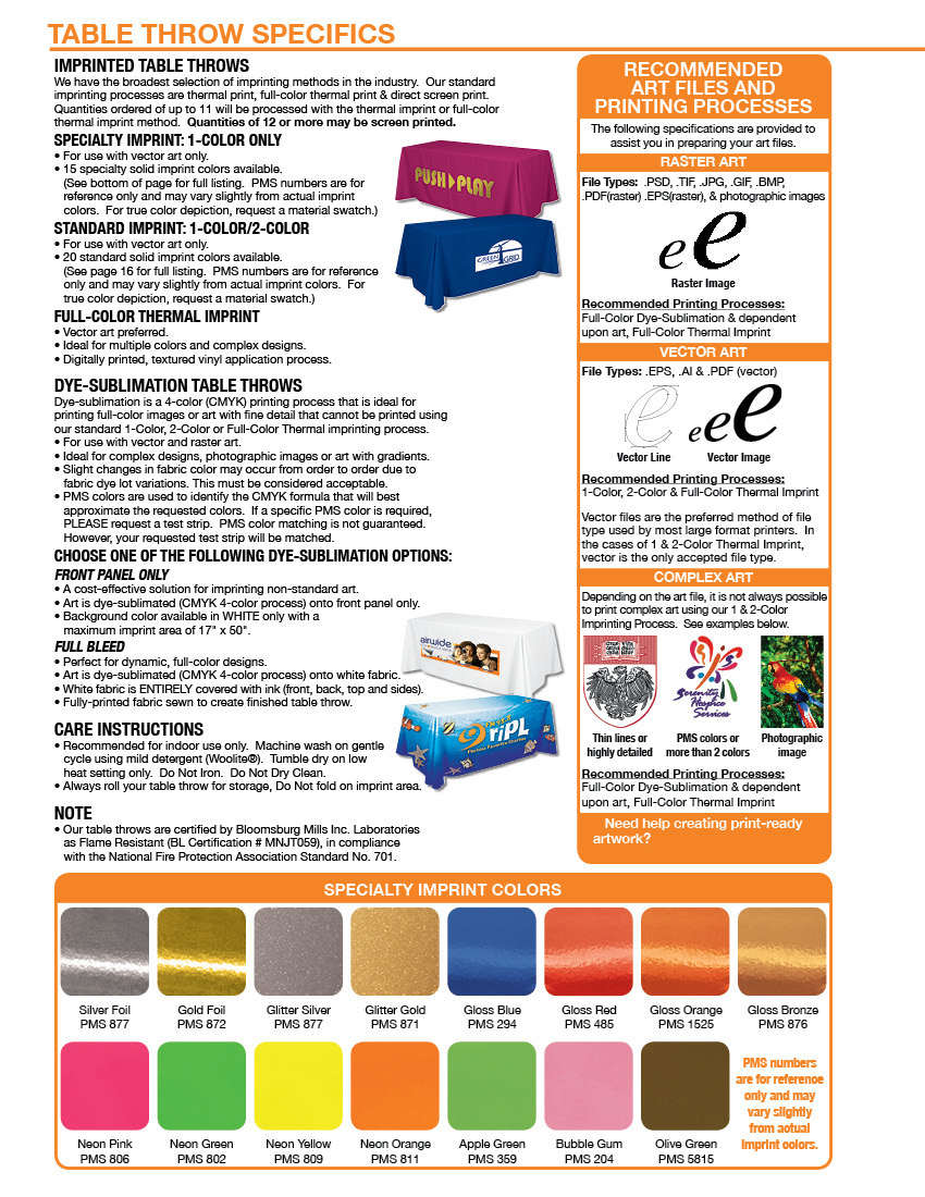 Specifications for table covers, graphics and colors
